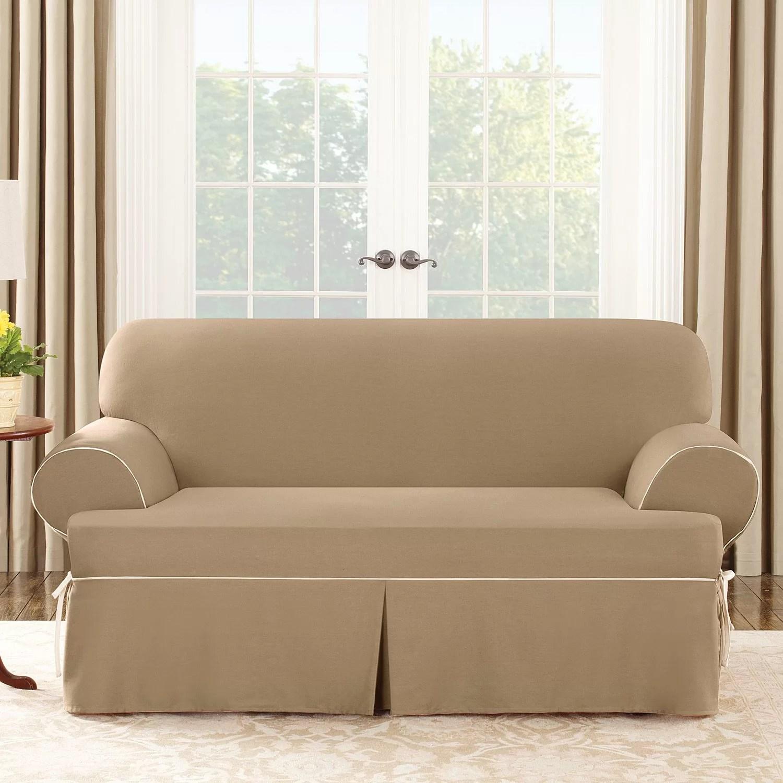 sure fit cotton duck sofa slipcover cheap rattan sofas uk loveseat t cushion