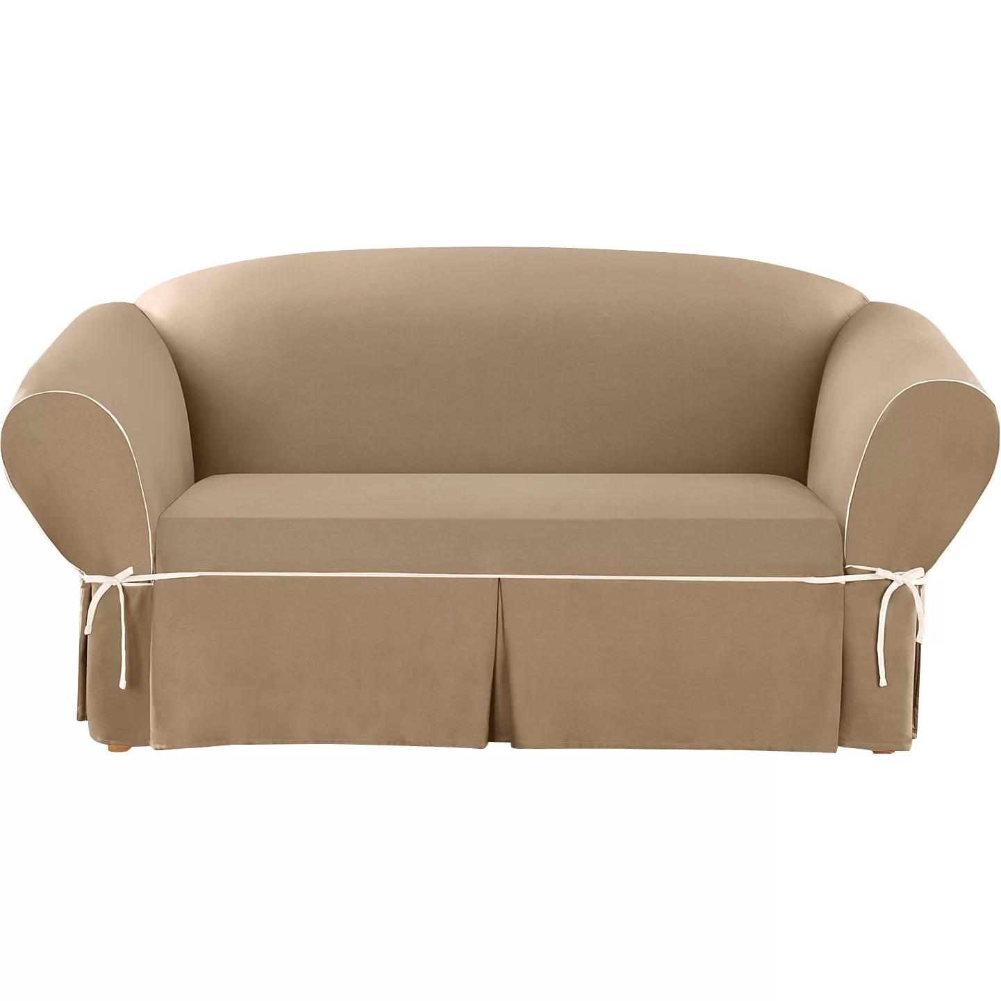 sure fit cotton duck sofa slipcover sofas dark green loveseat and reviews wayfair ca
