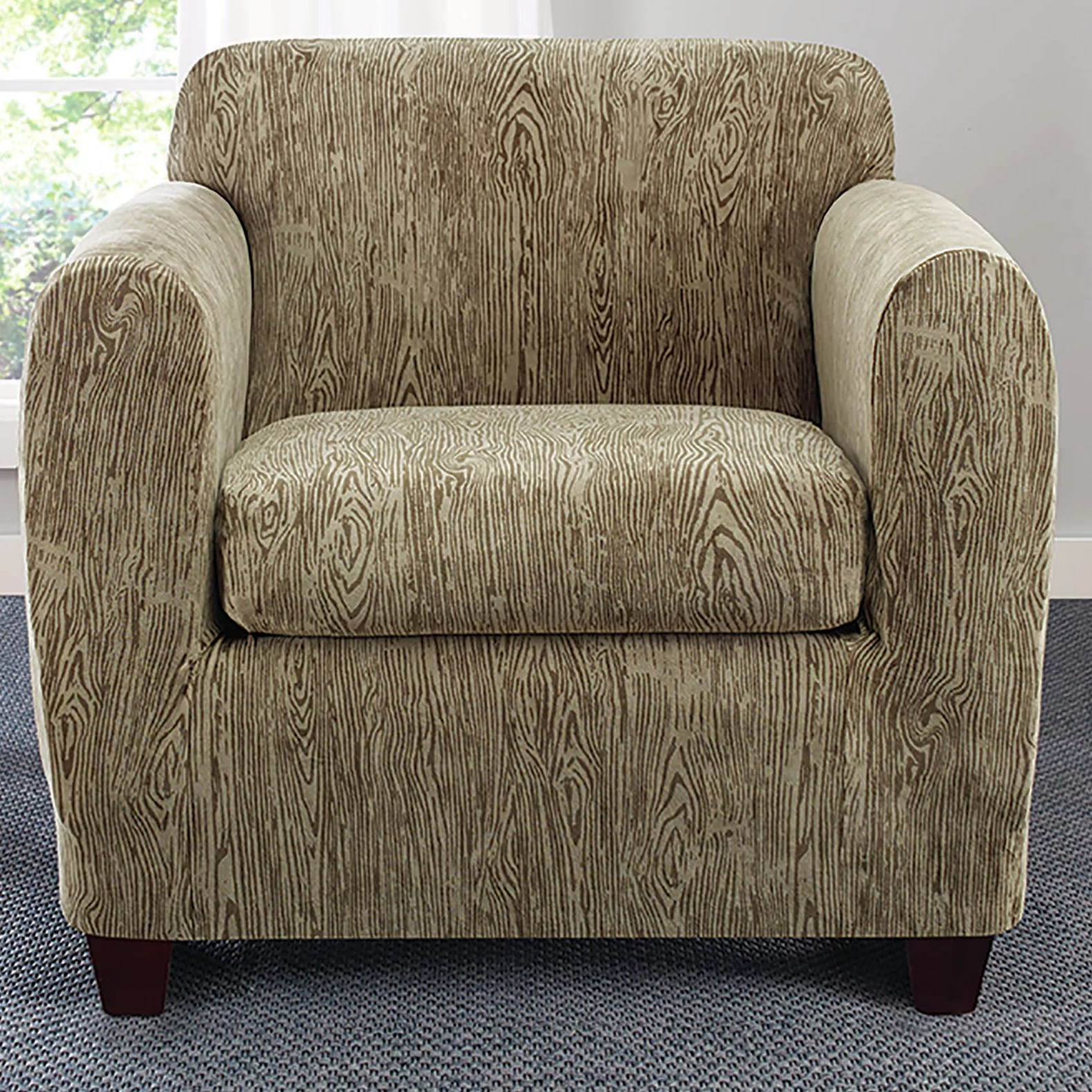 how to slipcover a chair with arms pink office ikea sure fit stretch sycamore arm and reviews