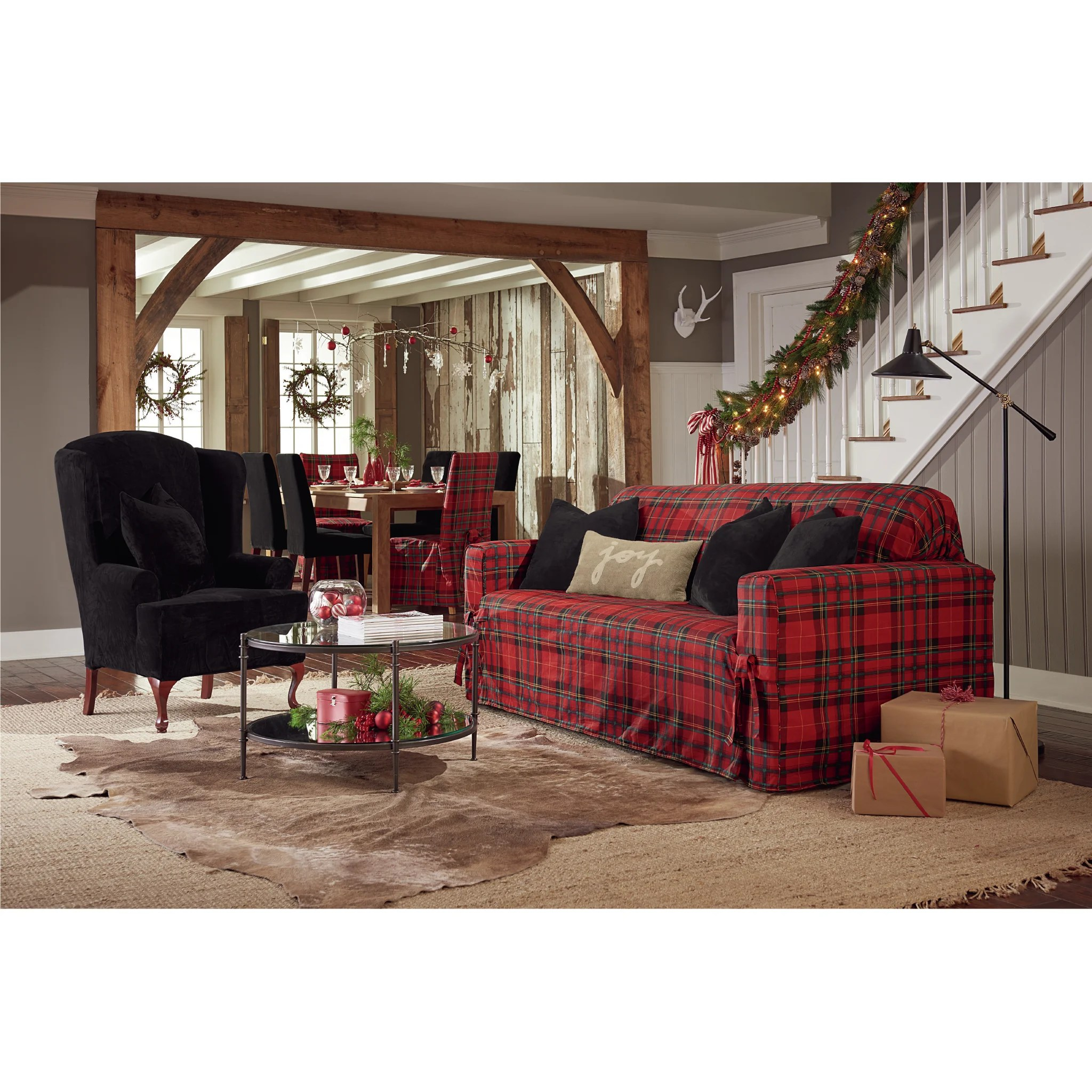 tartan dining chair covers for sale small bedroom occasional sure fit lodge plaid armchair slipcover wayfair
