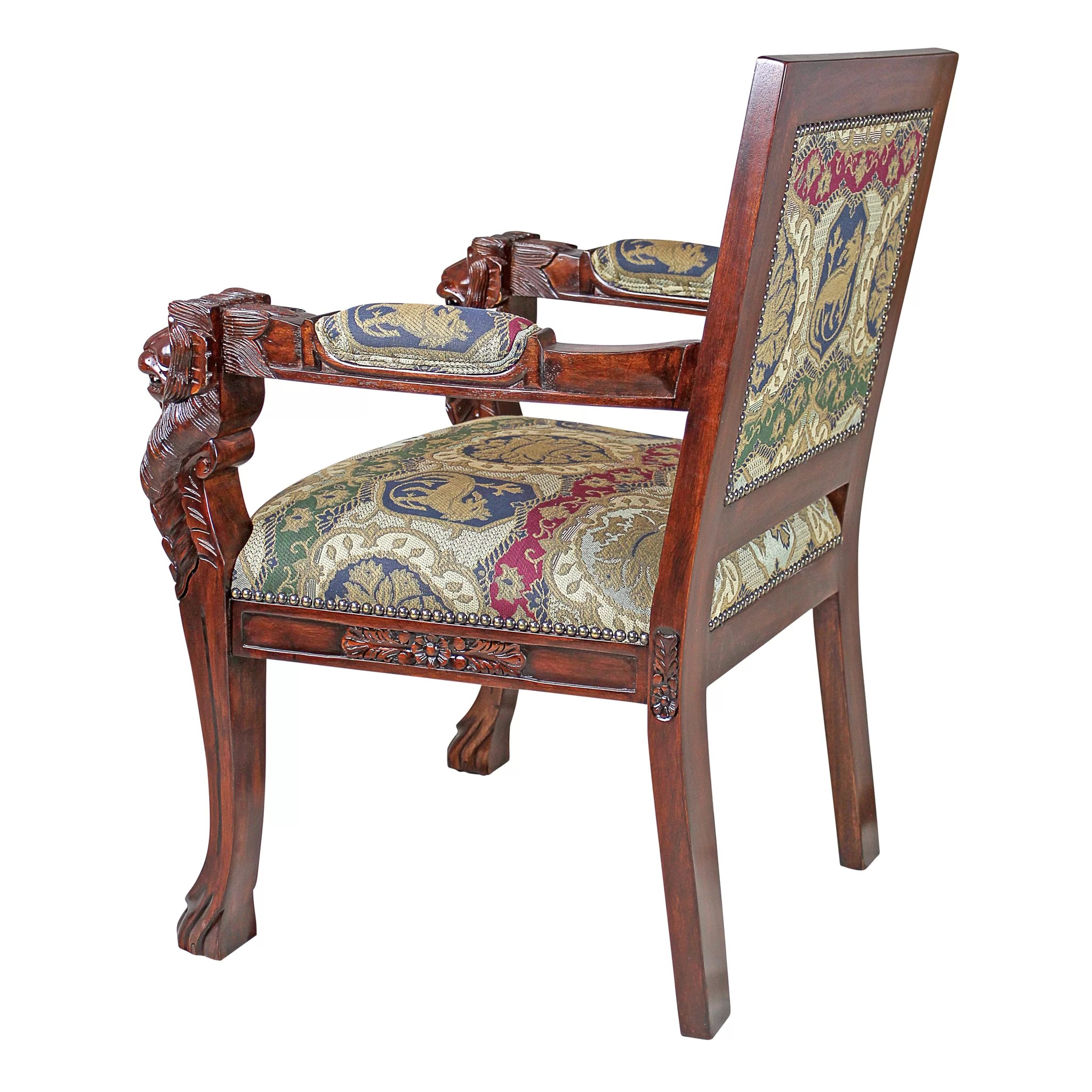 Lion Chair Design Toscano Beardsley Heraldic Lion Fabric Arm Chair