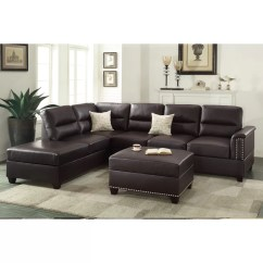 Hayden Sectional Sofa With Reversible Chaise Charcoal Grey Bed Poundex Bobkona Toffy