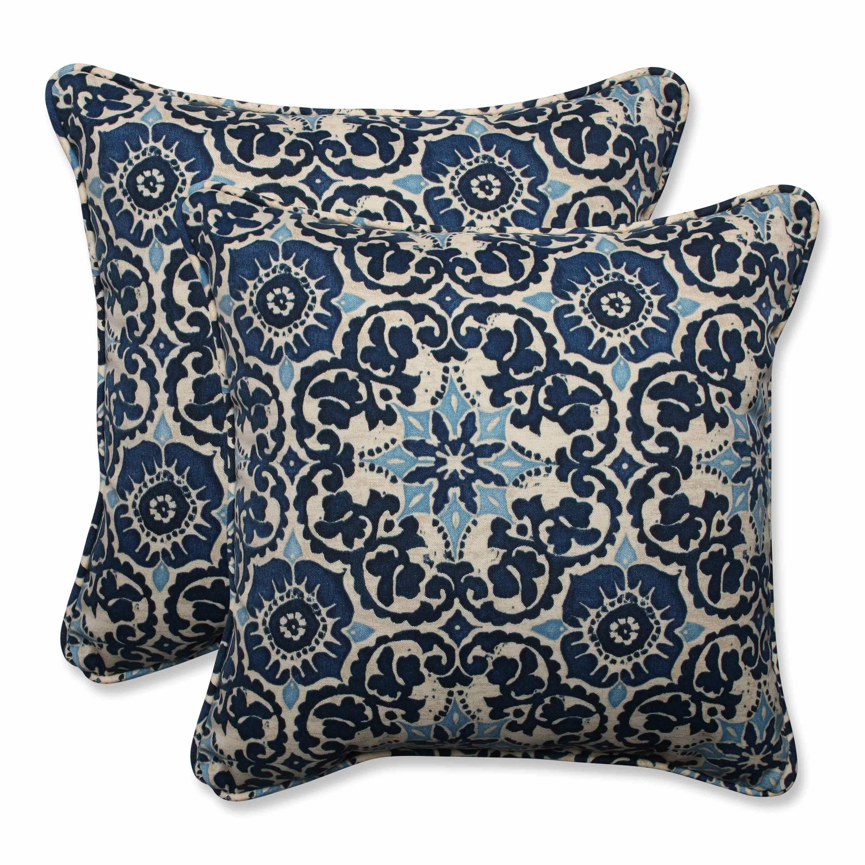 Pillow Perfect Woodblock IndoorOutdoor Throw Pillow
