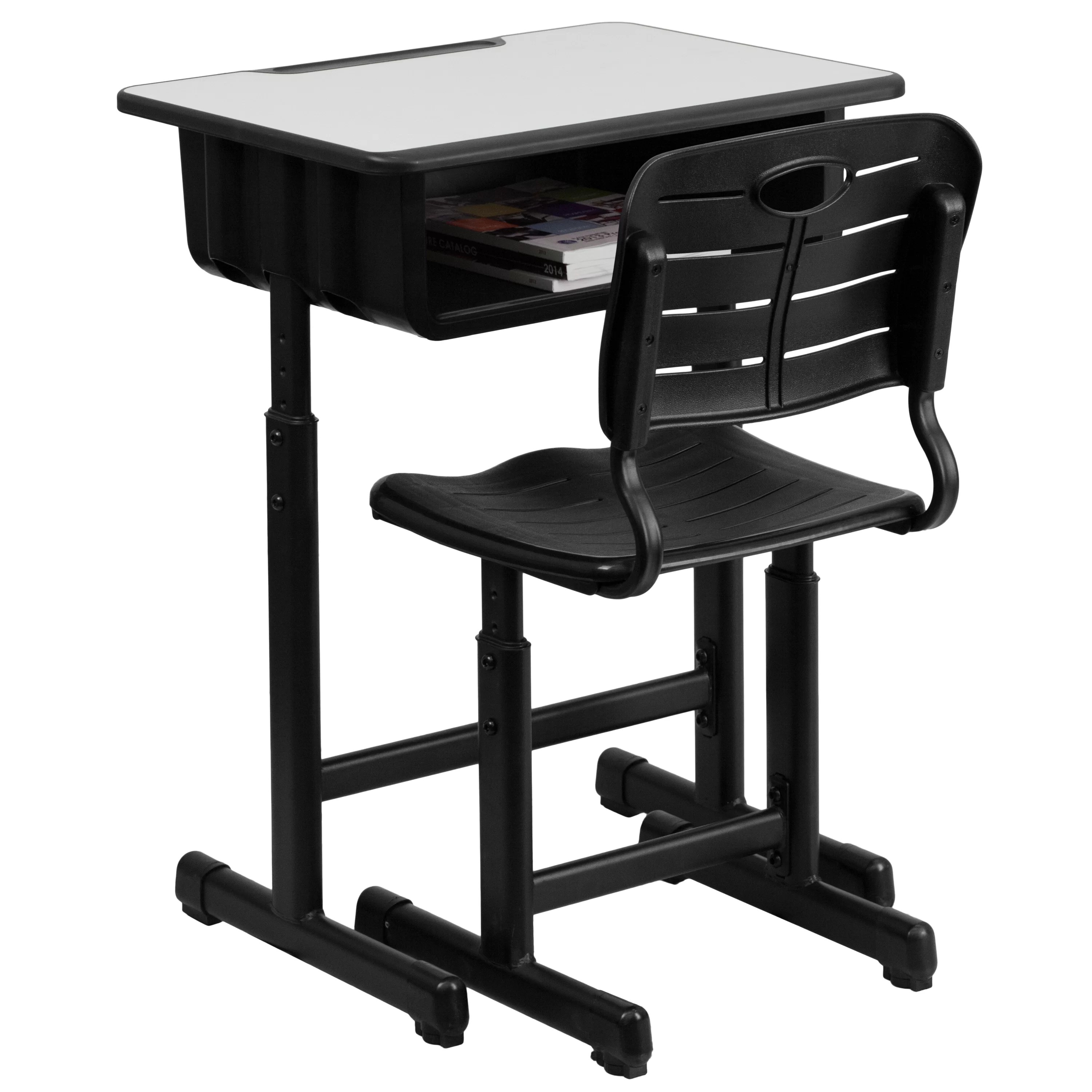 student desk chair combo folding plans flash furniture laminate adjustable height