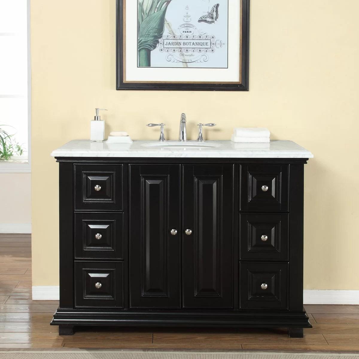 Silkroad Exclusive 48 Single Sink Bathroom White Marble