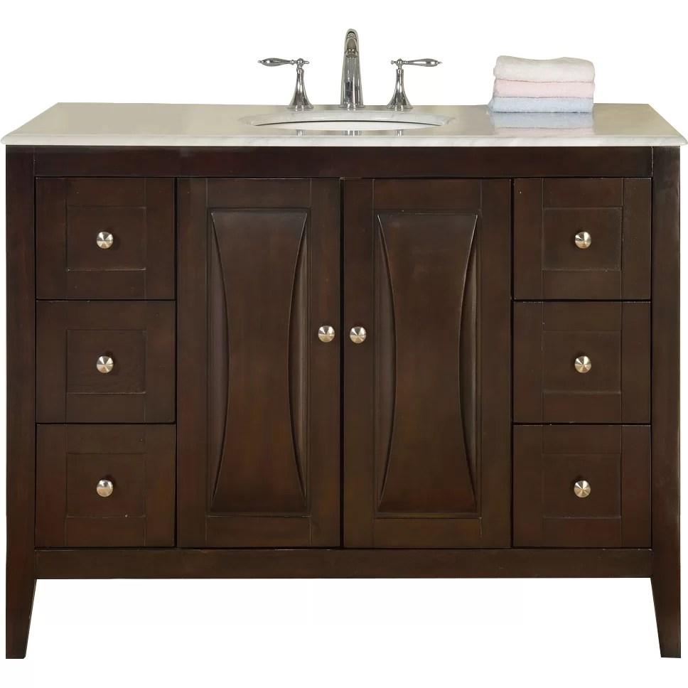 Silkroad Exclusive 48 Single Sink Cabinet Bathroom Vanity