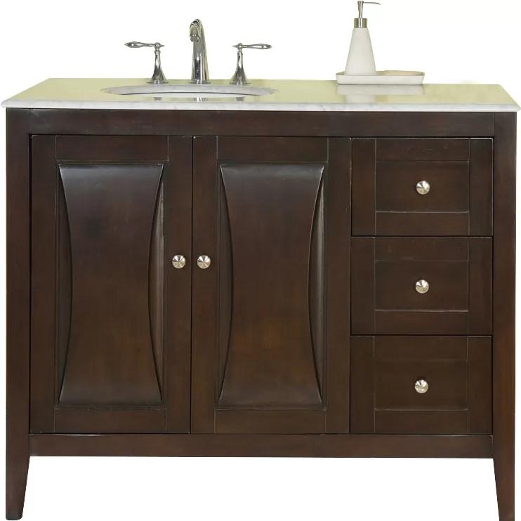 Silkroad Exclusive 45 Single Sink Cabinet Bathroom Vanity