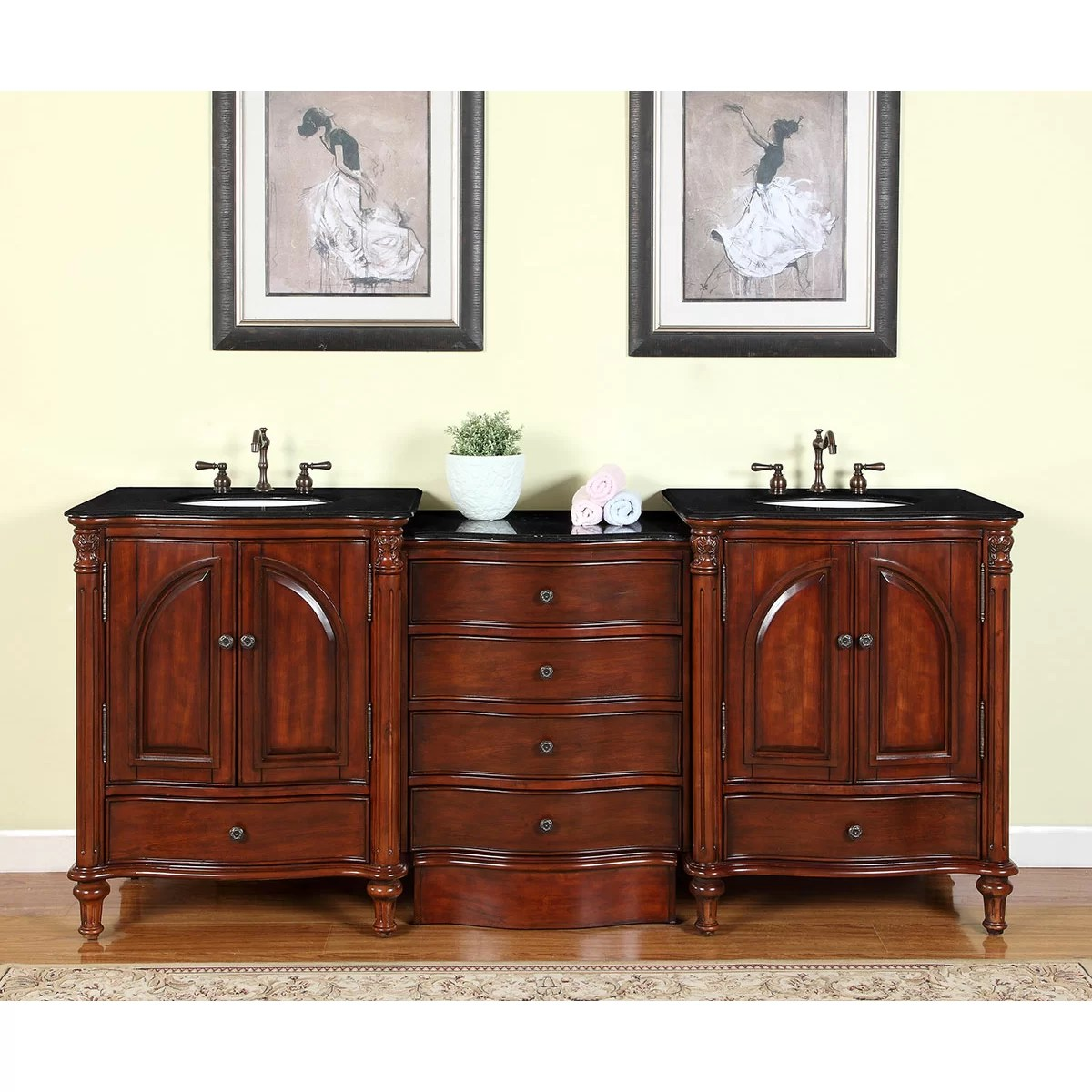 Silkroad Exclusive Leila 83 Double Bathroom Vanity Set