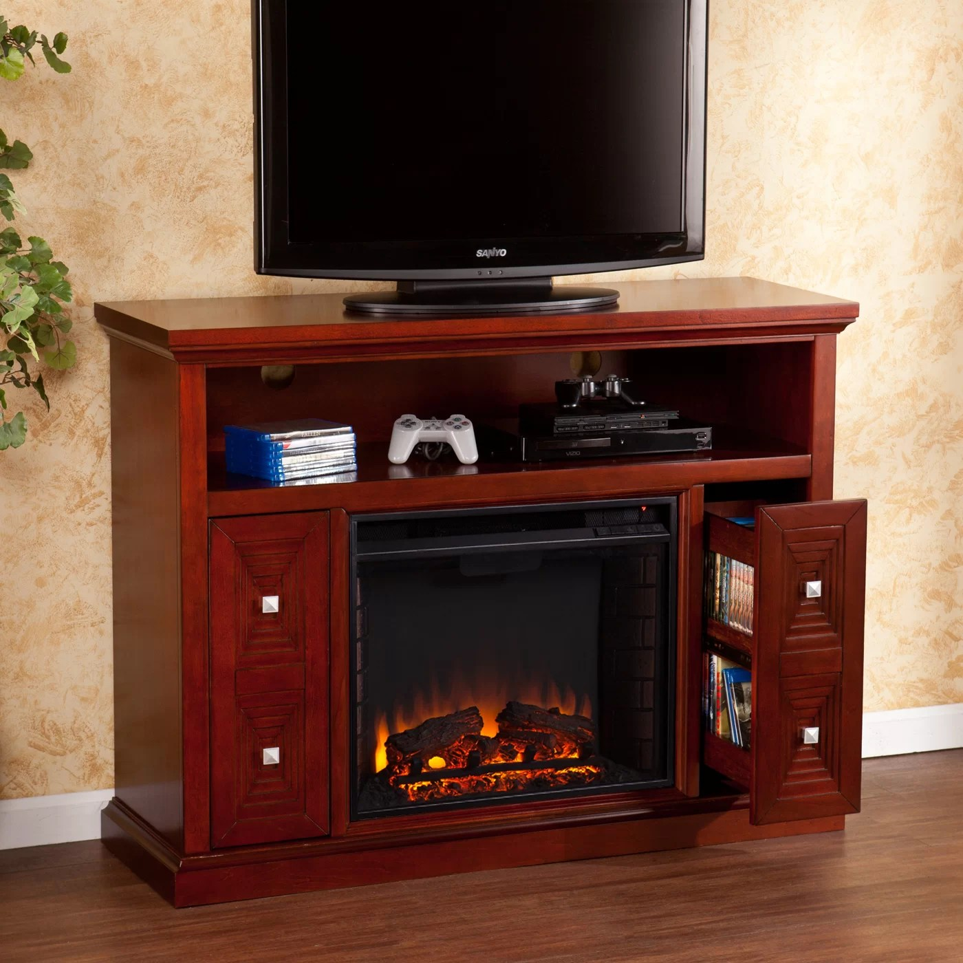 Wildon Home  Faulkner TV Stand with Electric Fireplace  Reviews  Wayfair