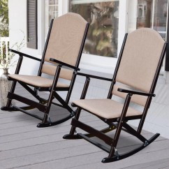 Folding Rocking Chair Wood Leather Egg Wildon Home  Cedar Creek Solid
