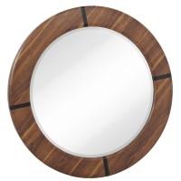 Majestic Mirror Round Modern Walnut Beveled Glass Framed ...