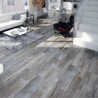 "EliteTile Savona 8"" x 26"" Porcelain Wood Tile in Gris ..."