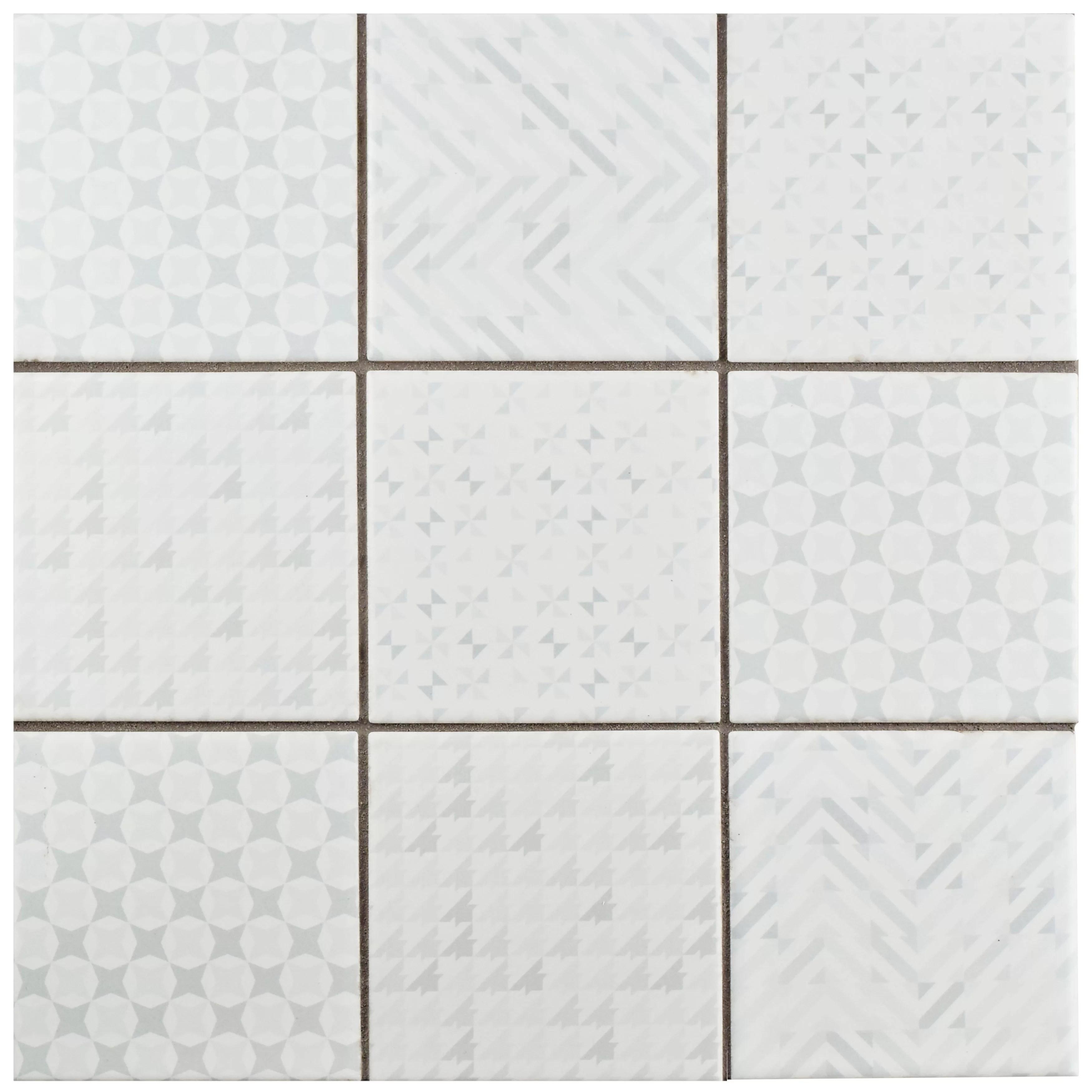 Elitetile Geogloss 3 88 X 3 88 Porcelain Mosaic Tile In