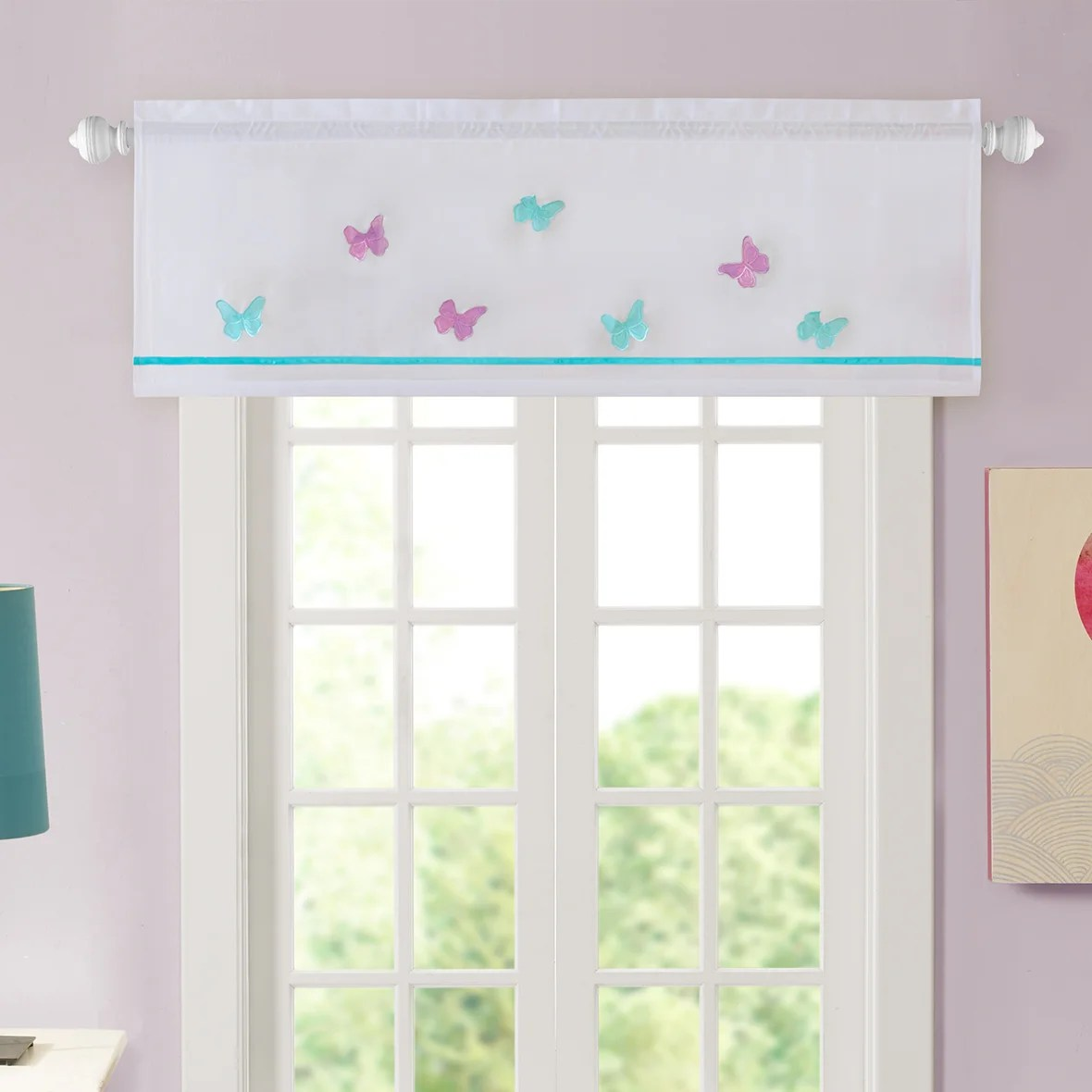 Mi Zone Alice Butterfly Embroidered Curtain Valance