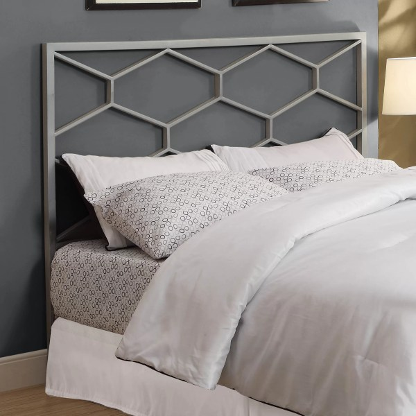 Silver Metal Queen Headboard