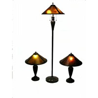 Warehouse of Tiffany Mica 3 Piece Table and Floor Lamp Set ...