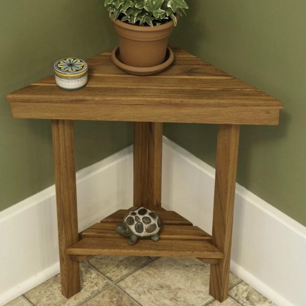 Teakworks4u Teak Mini Corner Shower Bench With Shelf &