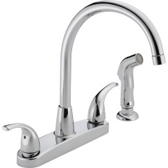 Kitchen Faucet With Side Spray Diy Bench Storage Peerless Faucets Two Handle Centerset
