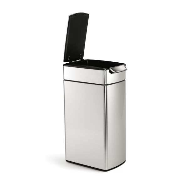 Simplehuman 10.5 Gallon Slim Rectangular Touch Bar Stainless Steel Trash &