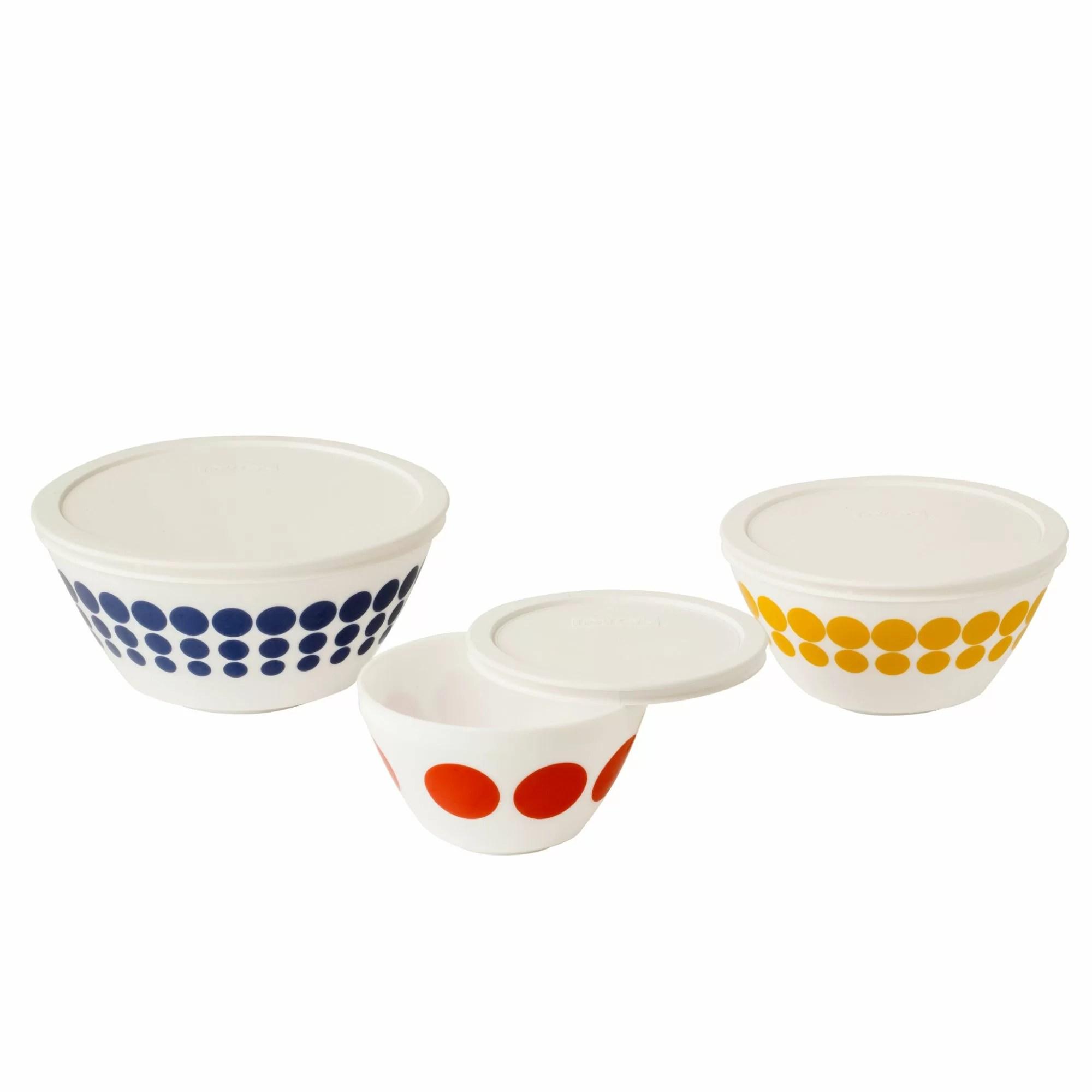 Pyrex 6 Piece Vintage Charm Spot on Mixing Bowl Set