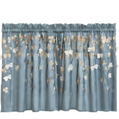 Kitchen Tier Curtains Small Plans Lush Decor Flower  Light Filtering Curtain