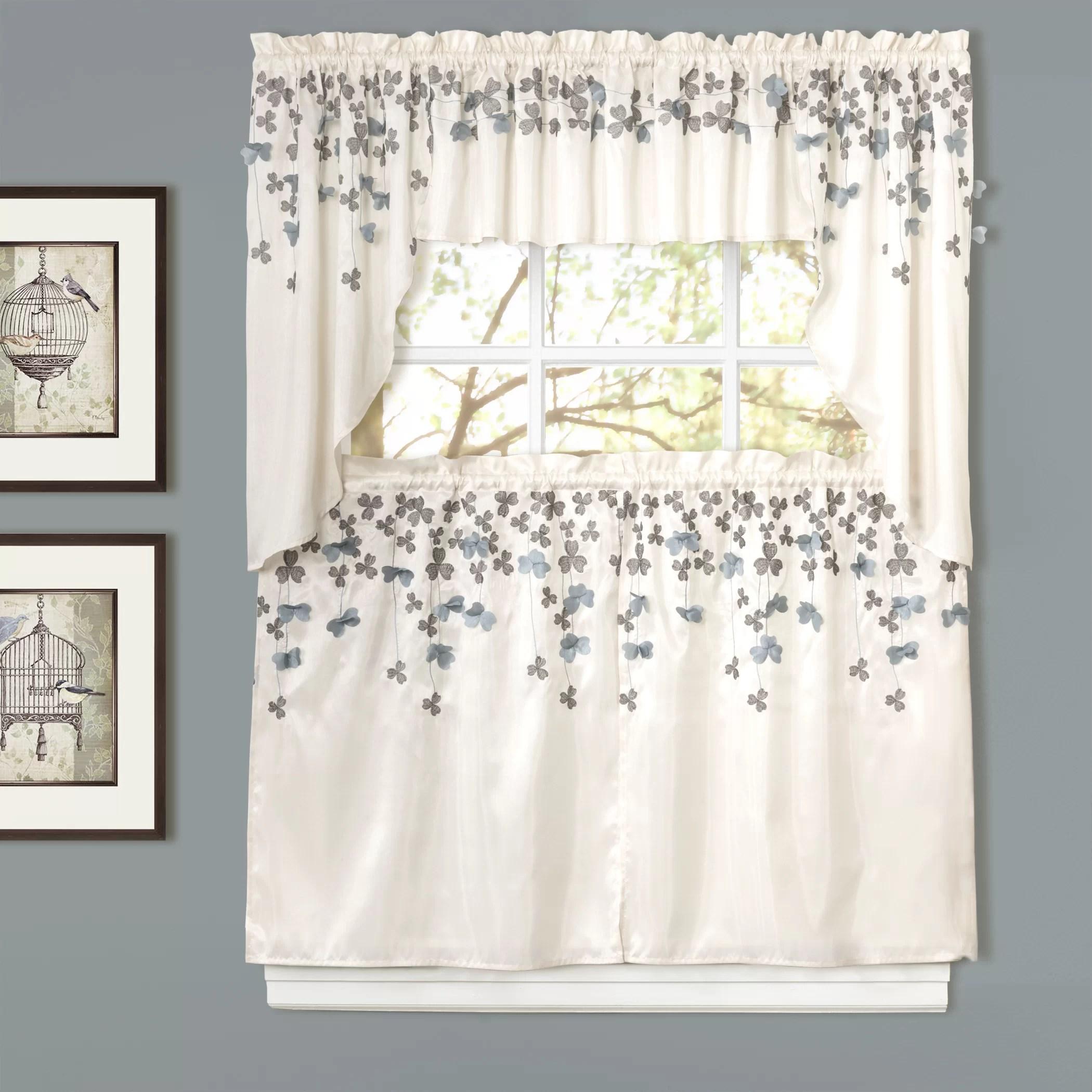 valance curtains for kitchen artwork lush decor flower rod pocket swag 39 quot curtain