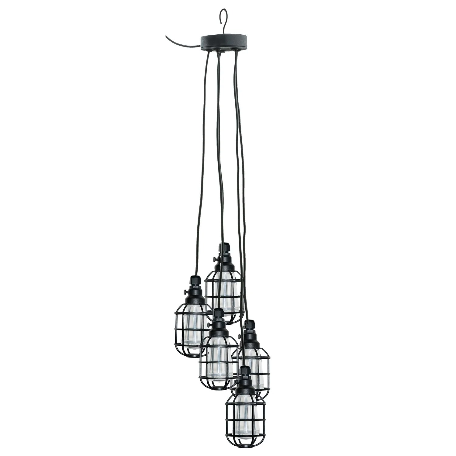 Paradise Garden Lighting Edison 5 Light Cage Pendant Amp Reviews