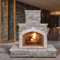 CalFlame Natural Stone Propane / Gas Outdoor Fireplace ...