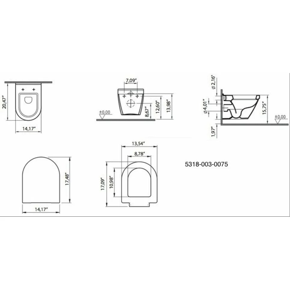 VitrA by Nameeks S50 Wall Mounted Elongated 1 Piece Toilet