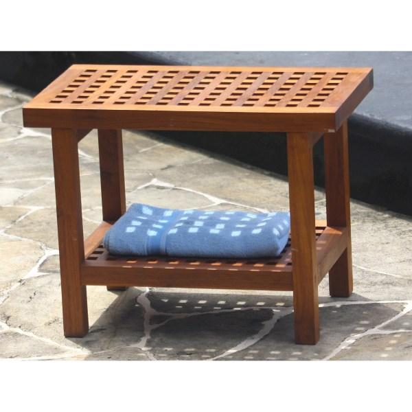 Aqua Teak Grate Shower Bench With Shelf &