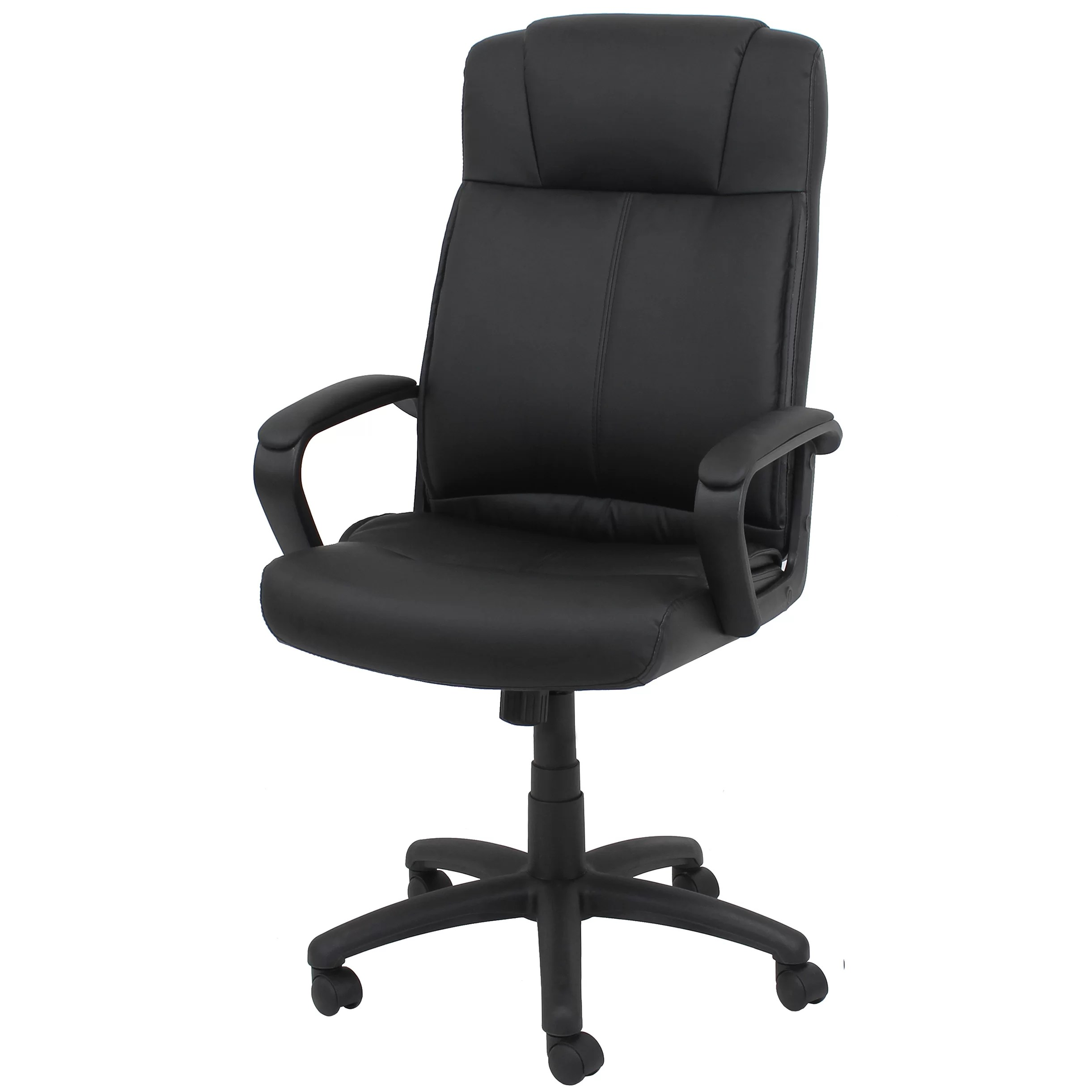 Office Chair With Arms Ofm Essentials High Back Leather Desk Chair With Arms