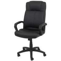 OFM Essentials High-Back Leather Desk Chair with Arms ...