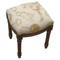123 Creations Equestrian Linen Upholstered Vanity Stool ...