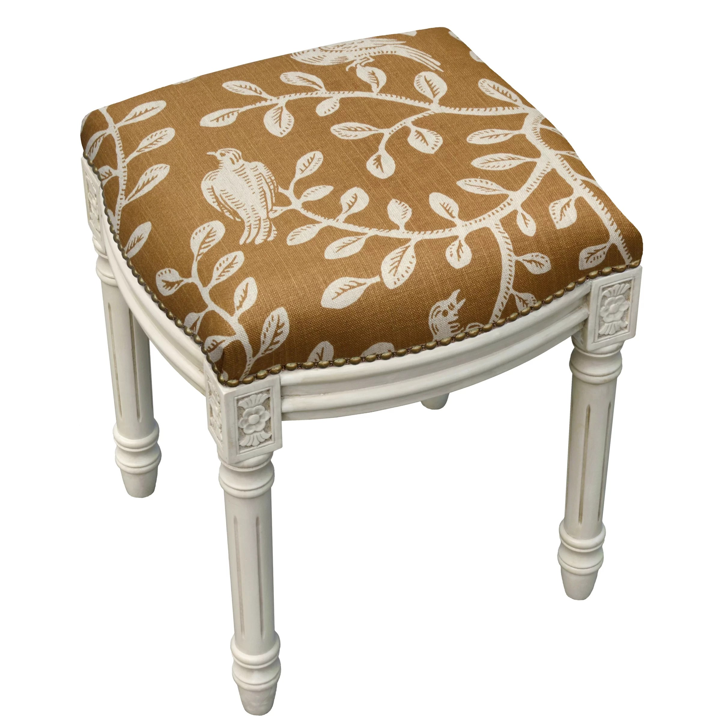 Upholstered Vanity Chair 123 Creations Birds And Vines Linen Upholstered Vanity