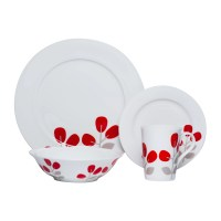 Red Vanilla Winterberry 16 Piece Dinnerware Set in Red ...