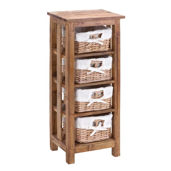 Woodland Imports Mahogany Wooden Rattan Basket With 3 Shelves And Storage &