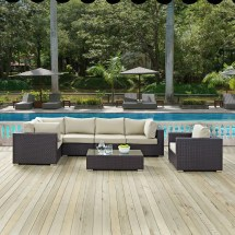 Modway Convene Outdoor 7 Piece Patio Seating Group With