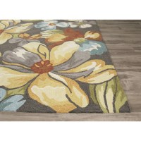JaipurLiving Flora Hand-Tufted Dark Gray/Yellow Area Rug ...
