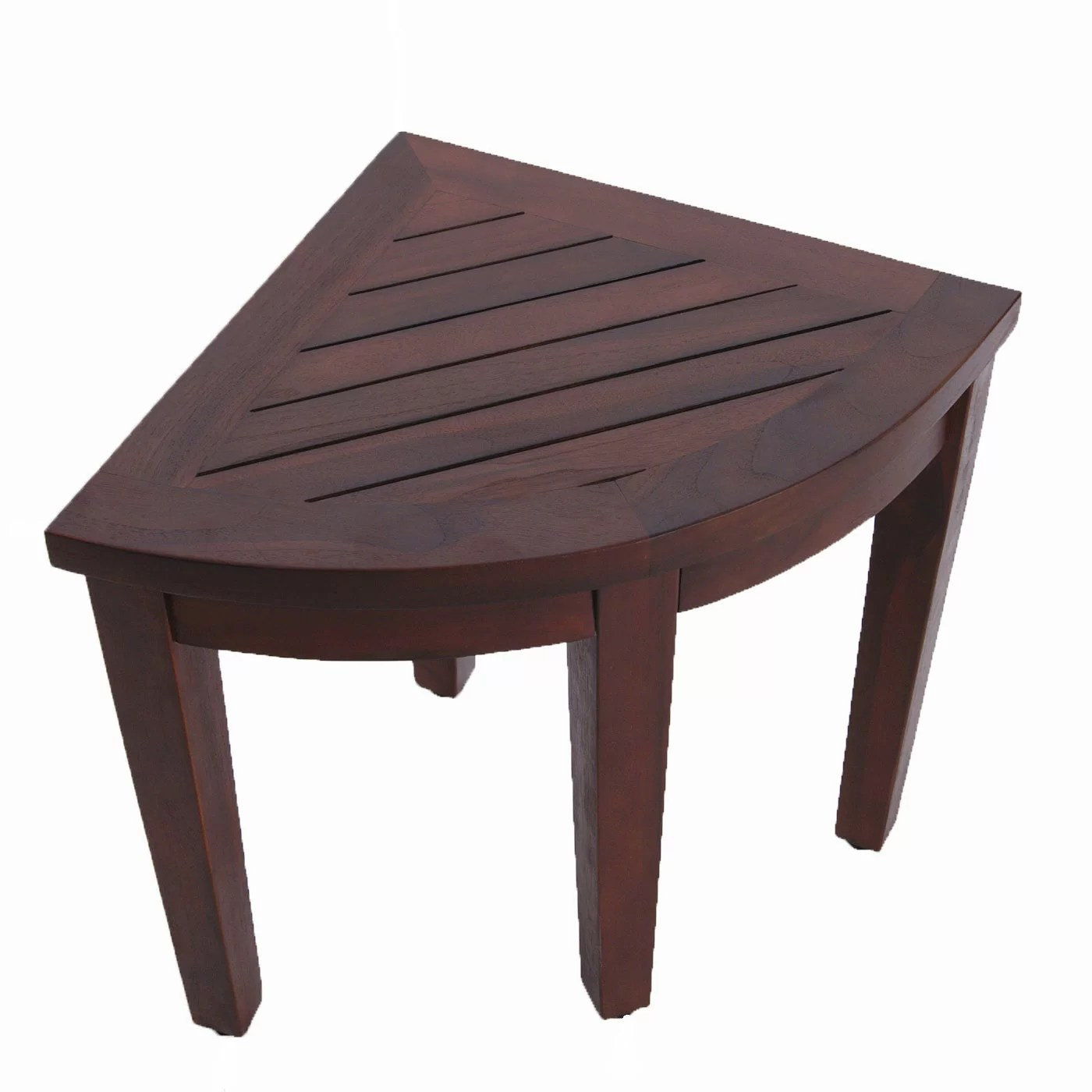 corner shower chair brown folding covers decoteak oasis teak seat stool bench