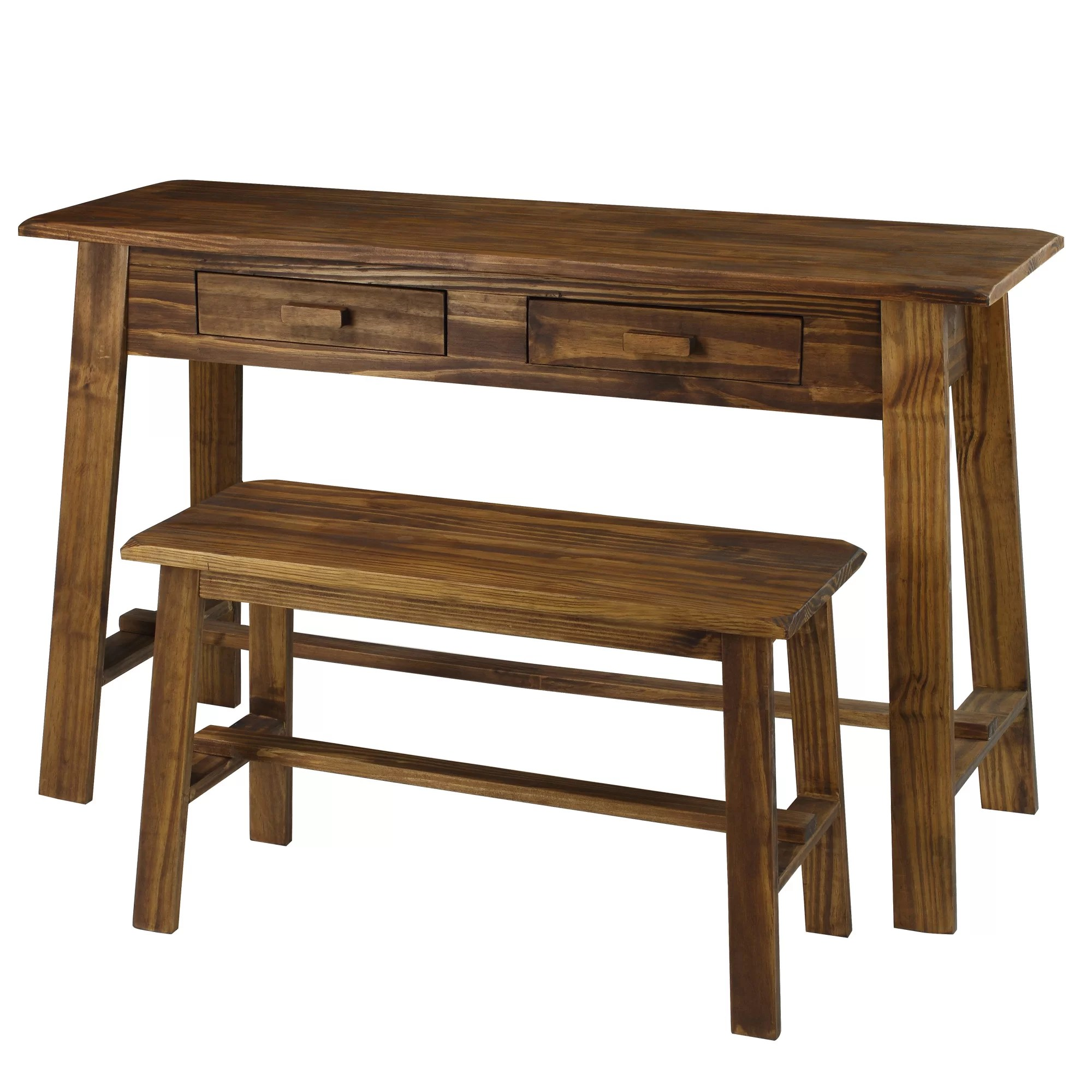 Casual Home Writing Desk And Bench Set Amp Reviews Wayfair
