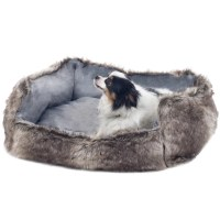 PAW Faux Fur Wolf Dog Bed & Reviews | Wayfair
