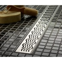 "QuARTz by ACO 34.9"" Wavy Bathroom Linear Shower Drain ..."