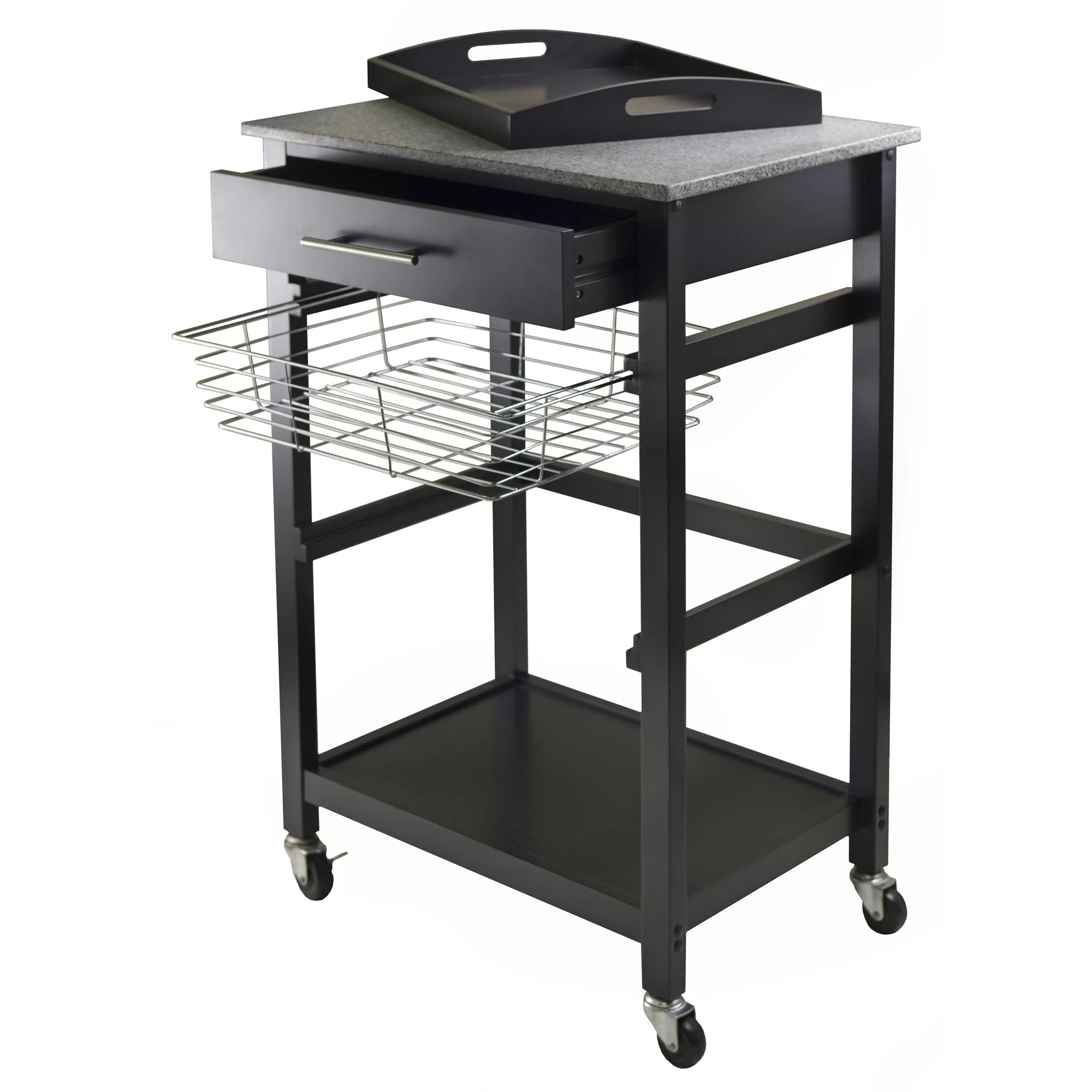 marble top kitchen cart moen faucets home depot winsome julia with granite and reviews