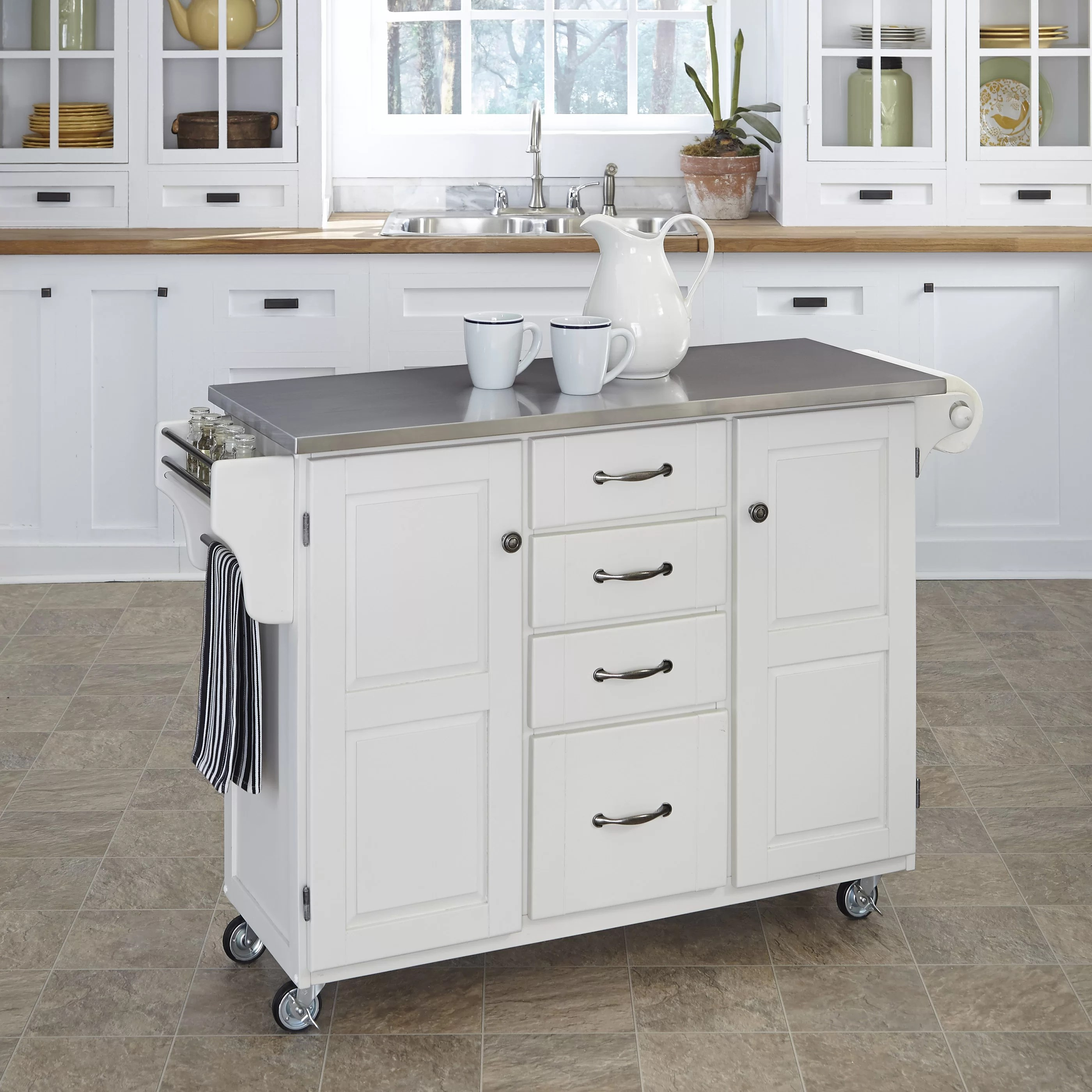 kitchen cart with stainless steel top ikea cabinet installation home styles create a island