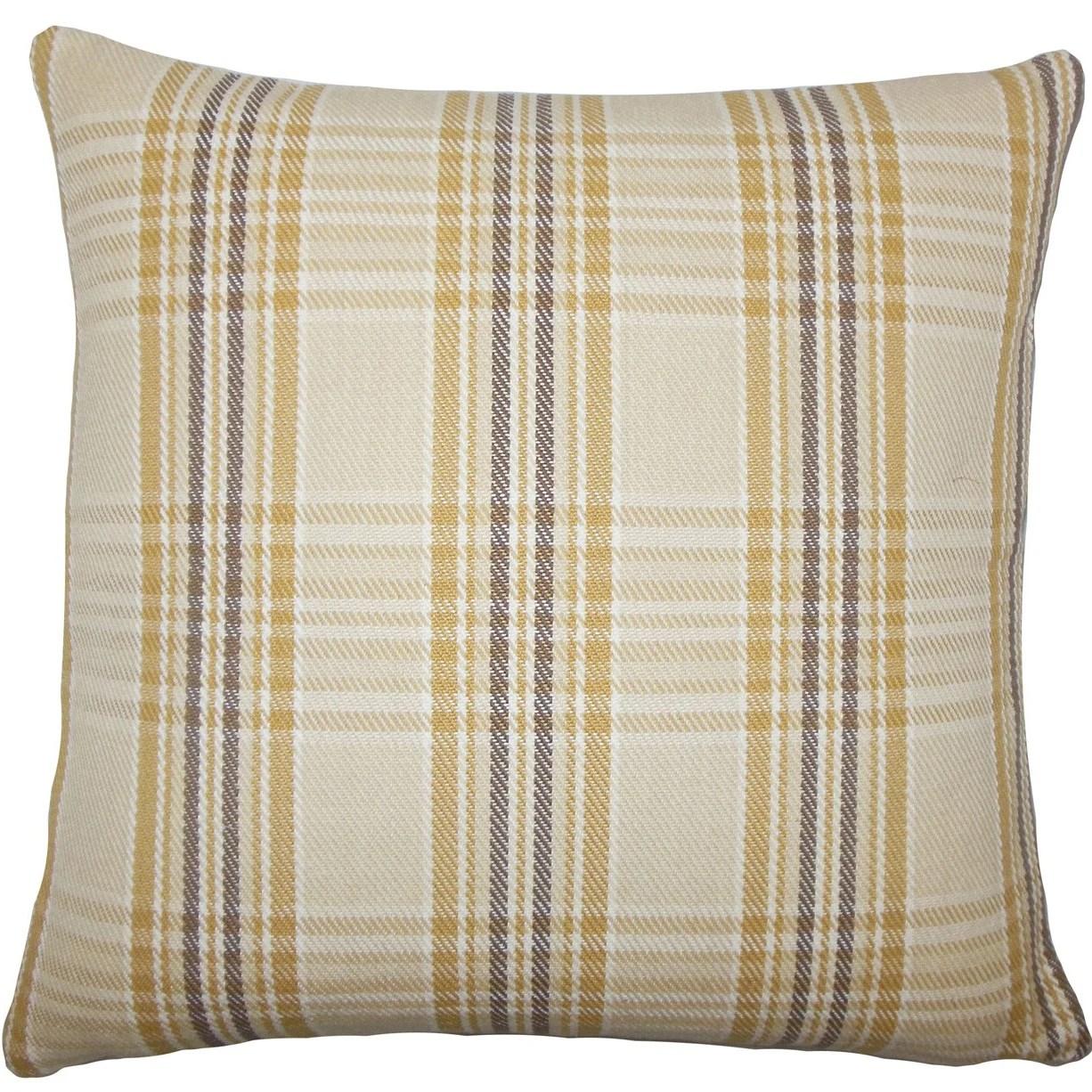 The Pillow Collection Mahlah Plaid Cotton Throw Pillow