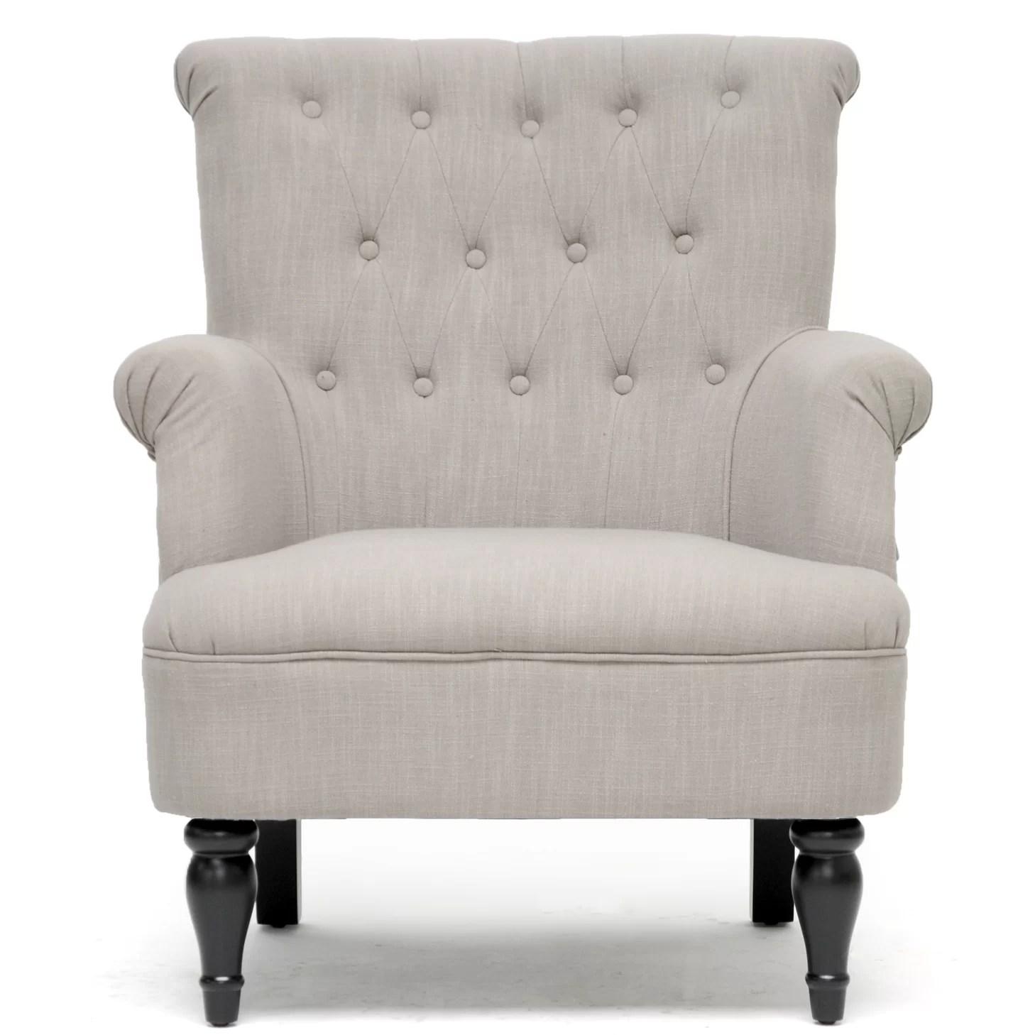grey club chair minnie mouse high wholesale interiors baxton studio linen modern