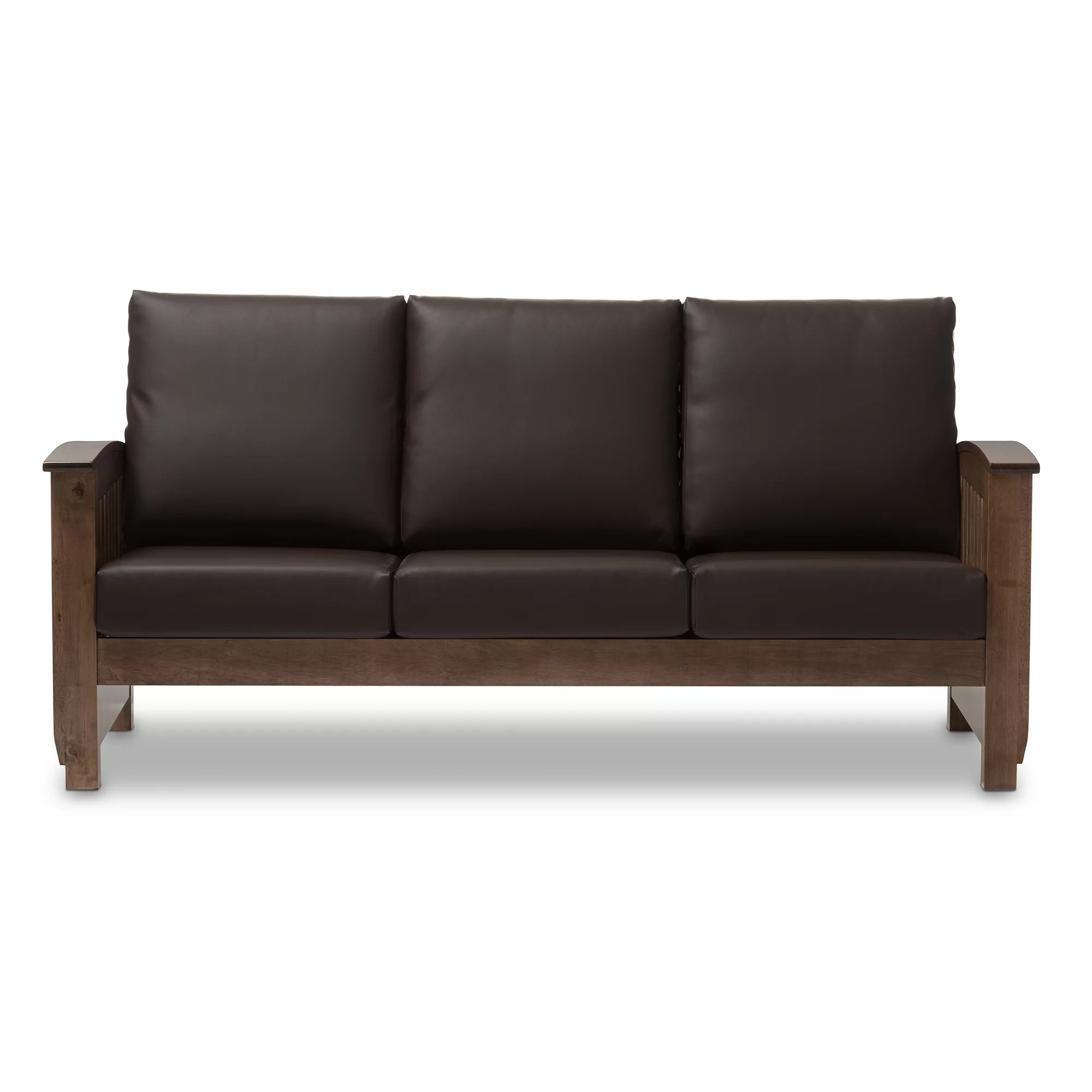 mission brown leather sofa loveseat sleeper covers wholesale interiors baxton studio benigno 3 seater