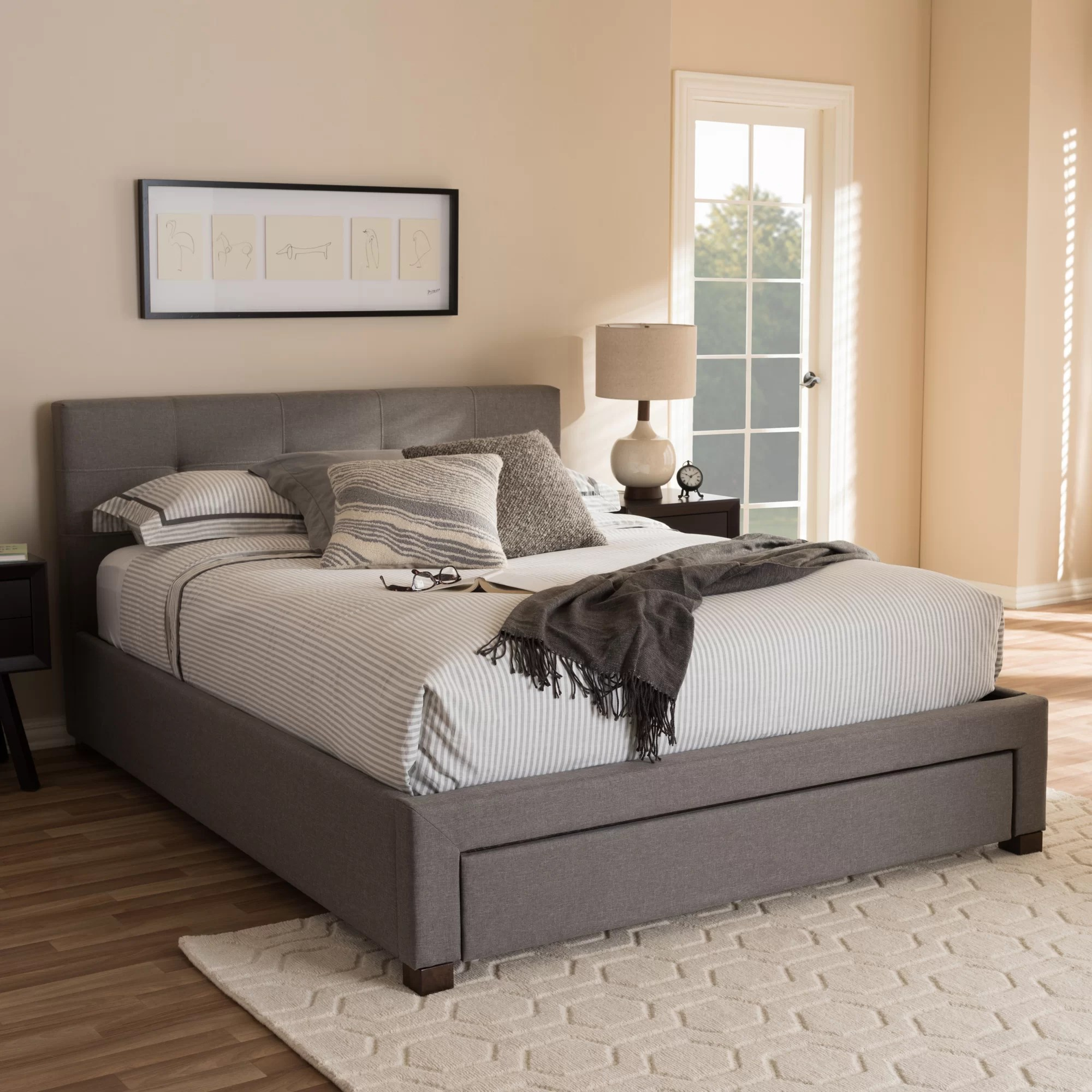 Wholesale Interiors Baxton Studio Upholstered Storage Platform Bed Amp Reviews Wayfair