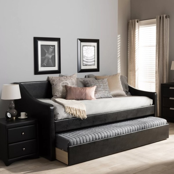 Black Faux Leather Daybed with Trundle