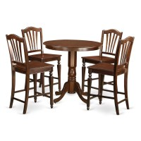 East West Jackson 5 Piece Counter Height Pub Table Set ...